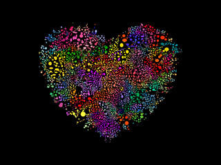 Heart shape illustration with colorful bubbles.