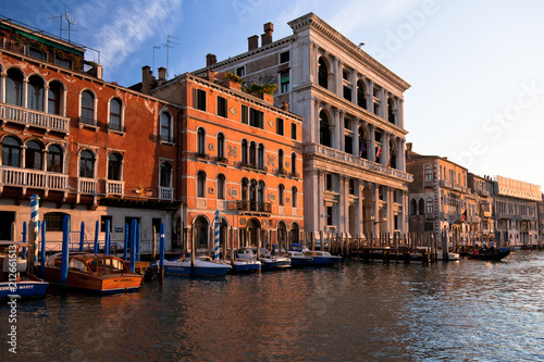 Boats, gondolas and colorful architecture viewed from boat in the Grand canal Italy - 212661513