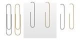 Set from vector realistic images of gold and silver paper clips. Paper clips attached to a sheet of paper. Images were created using gradiet mesh. Vector EPS 10 - 212665993