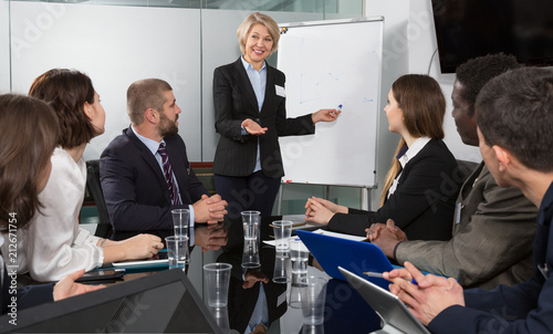 Wall mural Businesswoman doing presentation to colleagues