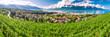 Leinwanddruck Bild - Panorama view of Montreux city with Swiss Alps, lake Geneva and vineyard on Lavaux region, Canton Vaud, Switzerland, Europe