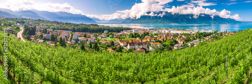 Leinwanddruck Bild Panorama view of Montreux city with Swiss Alps, lake Geneva and vineyard on Lavaux region, Canton Vaud, Switzerland, Europe