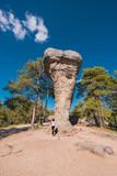 La Ciudad encantada. The enchanted city natural park, group of crapicious forms limestone rocks in Cuenca, Spain. - 212674924