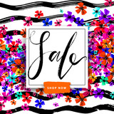 Sale summer poster with hand drawn colorful flowers on stripy background. Advertisement banner with hand drawn elements. Colorful template. - 212676514