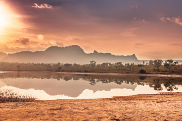 Lagoa da Serra, beautiful lake with sierras and cerrado in the background, in Jalapão - Tocantins - Brazil