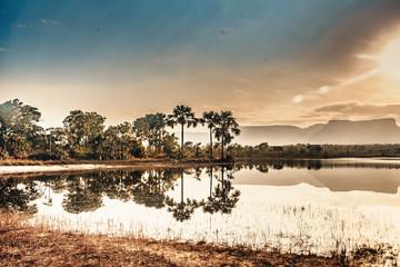 Lagoa da Serra, sunrise beautiful lake with sierras and cerrado in the background, in Jalapão - Tocantins - Brazil