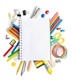 Blank Notepad among the School Supplies Isolated - 212683966