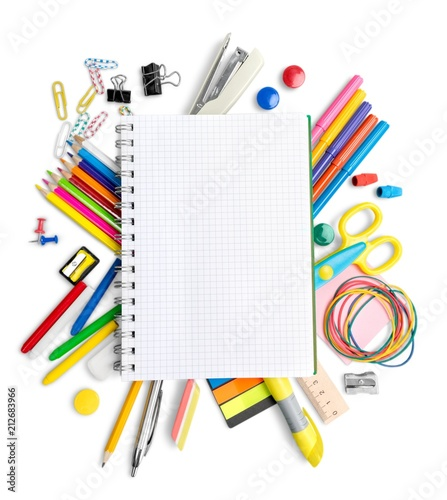 Blank Notepad among the School Supplies Isolated © BillionPhotos.com