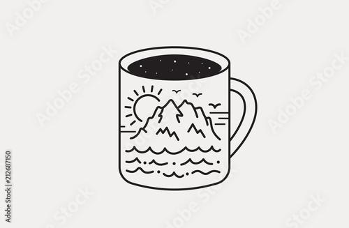 Line Art Of Sun : Hand drawn travel badge mug art. sea mountains sun and clouds