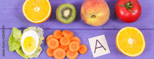 Fresh fruits with vegetables containing vitamin A, minerals and fiber, healthy nutrition concept