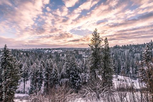 Plexiglas Lavendel Cloudy Winter Sunrise Scene
