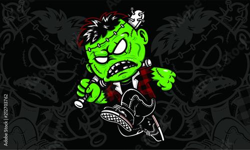 Fotobehang Graffiti frankie stein - Halloween Character Vector