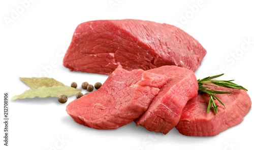 Fotobehang Steakhouse Fresh beef on white background
