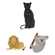 Different animals cartoon icons in set collection for design. Bird, predator and herbivore vector symbol stock web illustration.