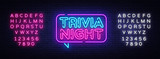 Trivia night announcement neon signboard vector. Light Banner, Design element, Night Neon Advensing. Vector illustration. Editing text neon sign
