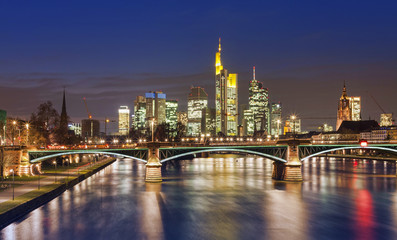 Frankfurt am Main city skyline night view. Germany