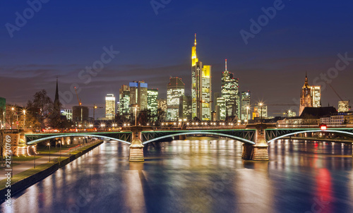 Frankfurt am Main city skyline night view. Germany