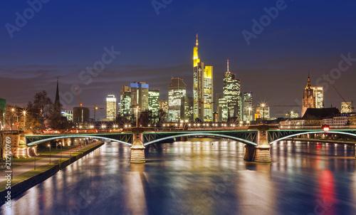 Obraz na płótnie Frankfurt am Main city skyline night view. Germany