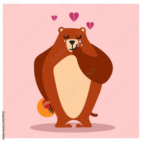 sad crying broken heart brown grizzly bear animal mascot cartoon character - 212711752