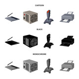 Power unit, dzhostik and other equipment. Personal computer set collection icons in cartoon,black,monochrome style vector symbol stock illustration web. - 212712164