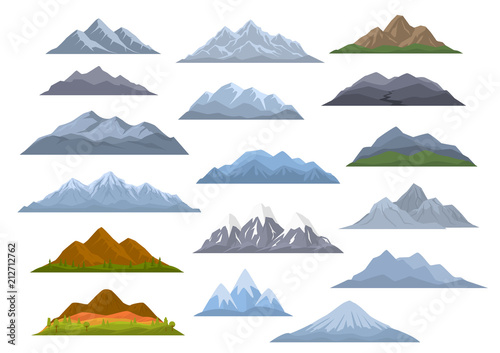 Fototapeta different cartoon mountains set, isolated graphic vector illustration