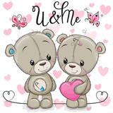 Teddy boy and Teddy girl on a hearts background - 212713176