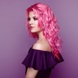 Beauty Fashion Model Girl with Colorful Dyed Hair. Girl with perfect Makeup and Hairstyle. Model with perfect Healthy Dyed Hair. Pink Hairstyles - 212716550