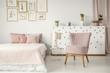 Pink elegant bedroom interior
