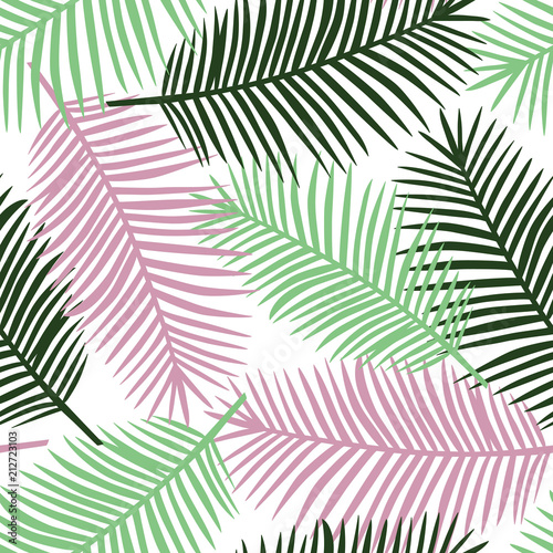 light green gark green and pink palm leaves on a white background exotic tropical hawaii pastel summer seamless pattern vector - 212723103