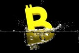 Immersion in the water of the crypto currency symbol Bitcoin. 3D rendering.
