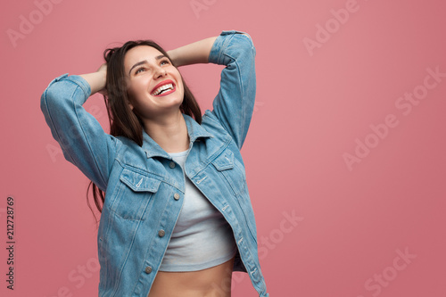 Pretty woman laughing and looking up