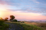 Scenic view of the Tuscany;  rolling hills and old road against sunset sky background - 212729749