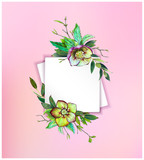 Colorful floral background with beautiful flowers. Green Helleborus and leaves. Markers' art. Invitation or poster design, banner template for social media advertising or shares and sales. - 212733908