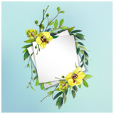 Colorful floral background with beautiful flowers. Yellow orchid and leaves. Markers' art. Invitation or poster design, banner template for social media advertising or shares and sales. - 212734118