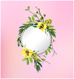 Colorful floral background with beautiful flowers. Yellow orchid and leaves. Markers' art. Invitation or poster design, banner template for social media advertising or shares and sales. - 212734143