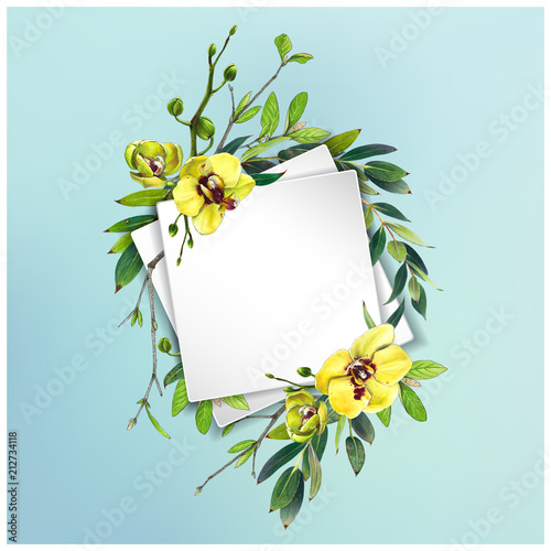 Fototapeta Colorful floral background with beautiful flowers. Yellow orchid and leaves. Markers' art. Invitation or poster design, banner template for social media advertising or shares and sales.