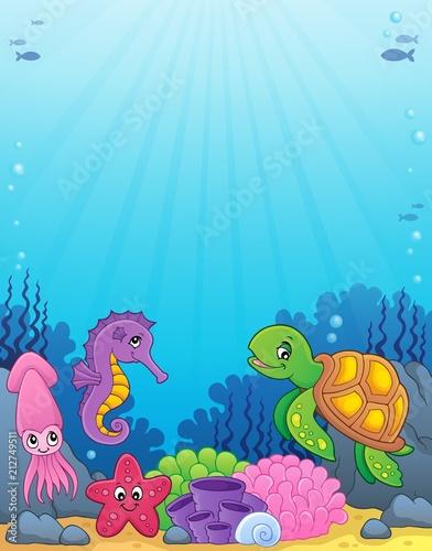 Fotobehang Voor kinderen Sea life theme image 4