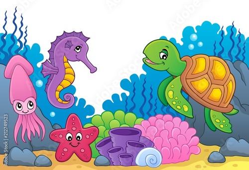 Fotobehang Voor kinderen Sea life theme image 5