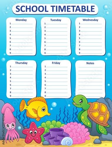 Fotobehang Voor kinderen Weekly school timetable design 9