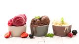 ice cream chocolate, vanilla and strawberry