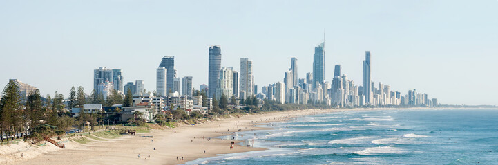 Panoramic view of Surfers Paradise beachfront, Gold Coast, Australia © Steven