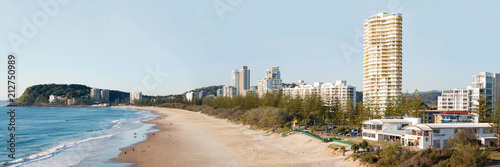 Obraz na płótnie Panoramic view of Burleigh, world renowned for its spectacular surfing conditions and part of the Gold Coast World Surfing Reserve. Burleigh Heads Australia