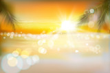 View of a tropical beach. Sunrise. Vector Illustration.