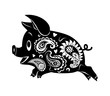 Abstract drawing of a running pig. Ornament - 212753952