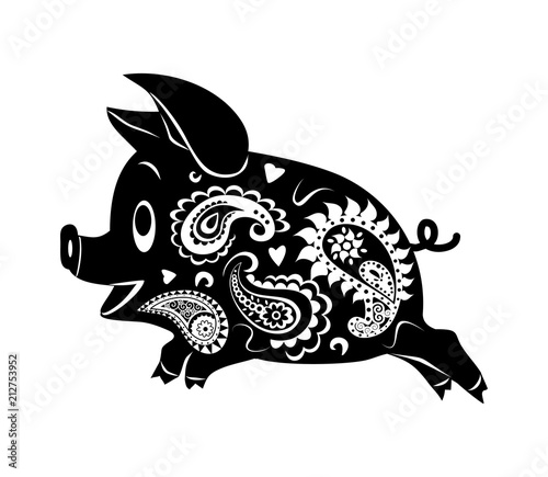 Aluminium Abstractie Abstract drawing of a running pig. Ornament