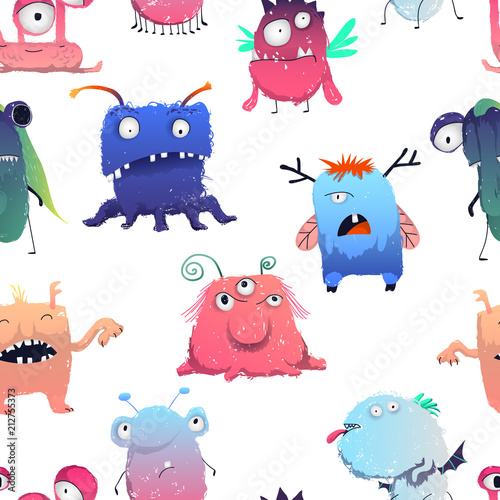 Tapeta Seamless pattern with cute monsters set. Cartoon characters in color pencil style. Isolated objects on white background. Vector illustration