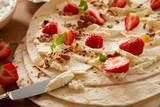 Gourmet fresh strawberry and cream wrap - 212755720