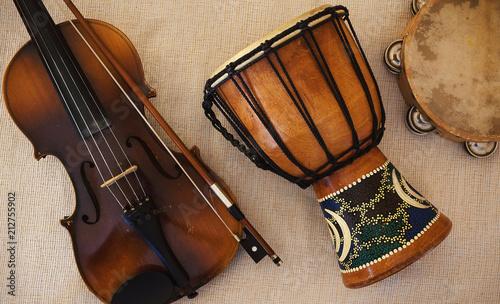 Fototapeta Violin From Czechoslovakia, Djembe and Tambourine