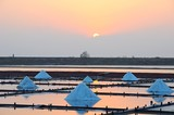 Jing-Zai-Jiao Tile-Paved Salt Fields at sunset in Tainan, Taiwan