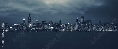 Fotobehang Chicago Chicago Night Time Skyline